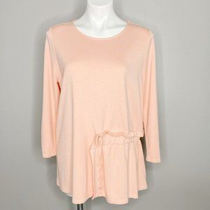 Halogen Ballet Pink Ruffle Detail 3/4 Sleeve Top